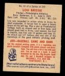 1949 Bowman #41   Lou Brissie Back Thumbnail