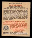 1949 Bowman #12   Cass Michaels Back Thumbnail