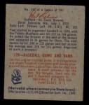 1949 Bowman #131   Paul Lehner Back Thumbnail