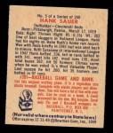 1949 Bowman #5   Hank Sauer Back Thumbnail