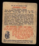 1949 Bowman #47  Johnny Sain  Back Thumbnail