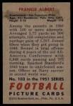 1951 Bowman #103  Frankie Albert  Back Thumbnail