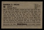 1952 Bowman Small #48  George Halas  Back Thumbnail