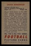 1951 Bowman #123  Chuck Hunsinger  Back Thumbnail