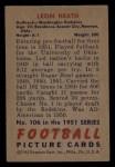 1951 Bowman #106   Leon Heath Back Thumbnail