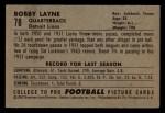 1952 Bowman Small #78   Bobby Layne Back Thumbnail