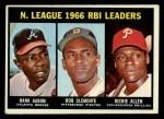 1967 Topps #242  NL RBI Leaders  -  Hank Aaron / Rich Allen / Roberto Bob Clemente Front Thumbnail