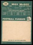 1960 Topps #55  Max McGee  Back Thumbnail