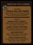 1973 Topps #356  White Sox Leaders  -  Chuck Tanner / Joe Lonnett / Jim Mahoney / Alex Monchak / Johnny Sain Back Thumbnail