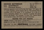 1952 Bowman Small #111   George Ratterman Back Thumbnail