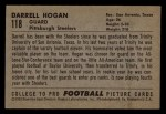 1952 Bowman Small #118  Darrell Hogan  Back Thumbnail