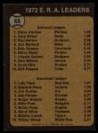 1973 Topps #65  1972 ERA Leaders  -  Steve Carlton / Luis Tiant Back Thumbnail