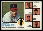 1973 Topps #421 ORG Angels Field Leaders  -  Bobby Winkles / Tom Morgan / Salty Parker / Jimmie Reese / John Roseboro Front Thumbnail
