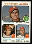 1973 Topps #66  1972 Victory Leaders  -  Steve Carlton / Gaylord Perry / Wilbur Wood Front Thumbnail