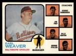 1973 Topps #136 ORG Orioles Leaders  -  Earl Weaver / George Bamberger / Jim Frey / Billy Hunter / George Staller Front Thumbnail