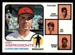 1973 Topps #449 ORA Indians Field Leaders  -  Ken Aspromonte / Rocky Colavito / Joe Lutz / Warren Spahn Front Thumbnail