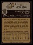 1973 Topps #186   Bill Fahey Back Thumbnail