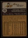 1973 Topps #355   Mike Marshall Back Thumbnail