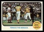 1973 Topps #203  1972 World Series - Game #1 - Tenace the Menace  -  Gene Tenace / George Hendrick / Johnny Bench Front Thumbnail