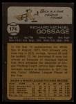 1973 Topps #174   Goose Gossage Back Thumbnail