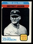 1973 Topps #476  All-Time Shutout Leader  -  Walter Johnson Front Thumbnail