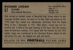 1952 Bowman Small #67  Richard Logan  Back Thumbnail