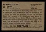 1952 Bowman Small #67   Richard Logan Back Thumbnail