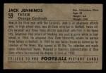 1952 Bowman Small #59  Jack Jennings  Back Thumbnail