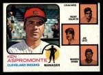 1973 Topps #449 ORA Indians Leaders  -  Ken Aspromonte / Rocky Colavito / Joe Lutz / Warren Spahn Front Thumbnail
