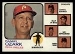 1973 Topps #486 BRN Phillies Leaders  -  Danny Ozark / Carroll Beringer / Billy De Mars / Ray Rippelmeyer / Bobby Wine Front Thumbnail