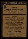 1973 Topps #486 BRN Phillies Field Leaders  -  Danny Ozark / Carroll Beringer / Billy De Mars / Ray Rippelmeyer / Bobby Wine Back Thumbnail