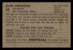 1952 Bowman Small #54   Glen Christian Back Thumbnail