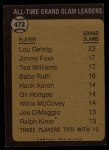 1973 Topps #472  All-Time Grand Slam Leader  -  Lou Gehrig Back Thumbnail