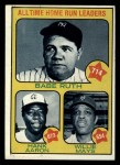1973 Topps #1  All Time HR Leaders  -  Hank Aaron / Babe Ruth / Willie Mays Front Thumbnail
