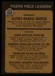 1973 Topps #323  Tigers Leaders  -  Billy Martin / Art Fowler / Joe Schultz / Charlie Silvera / Dick Tracewski Back Thumbnail