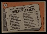 1972 Topps #90  1971 AL Home Run Leaders    -  Norm Cash / Reggie Jackson / Bill Melton Back Thumbnail