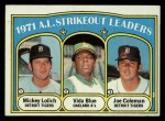 1972 Topps #96  1971 AL Strikeout Leaders    -  Vida Blue / Joe Coleman / Mickey Lolich Front Thumbnail