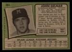 1971 Topps #604   John Gelnar Back Thumbnail