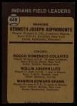1973 Topps #449 BRN Indians Field Leaders  -  Ken Aspromonte / Rocky Colavito / Joe Lutz / Warren Spahn Back Thumbnail