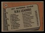 1972 Topps #87  NL RBI Leaders    -  Hank Aaron / Willie Stargell / Joe Torre Back Thumbnail