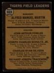 1973 Topps #323  Tigers Leaders  -  Billy Martin / Art Fowler / Joe Schultz / Charlie Silvera / Dick Tracewski Back Thumbnail
