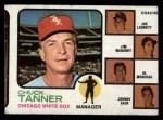 1973 Topps #356   -  Chuck Tanner / Joe Lonnett / Jim Mahoney / Alex Monchak / Johnny Sain White Sox Leaders Front Thumbnail