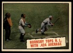 1961 Topps #404  Hornsby Tops NL With .424 Average  -  Rogers Hornsby Front Thumbnail