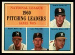 1961 Topps #47 ERR 1960 NL Pitching Leaders  -  Warren Spahn / Ernie Broglio / Lew Burdette / Vern Law Front Thumbnail