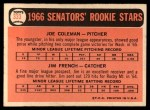 1966 Topps #333  Senators Rookies  -  Joe Coleman / Jim French Back Thumbnail
