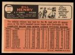 1966 Topps #115   Bill Henry Back Thumbnail