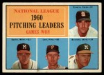 1961 Topps #47 COR 1960 NL Pitching Leaders  -  Warren Spahn / Ernie Broglio / Lew Burdette / Vern Law Front Thumbnail