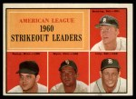 1961 Topps #50  1960 AL Strikeout Leaders  -  Jim Bunning / Frank Lary / Pedro Ramos / Early Wynn Front Thumbnail