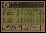 1961 Topps #38  Bob Lillis  Back Thumbnail
