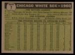 1961 Topps #7 ^YEL^  White Sox Team Back Thumbnail